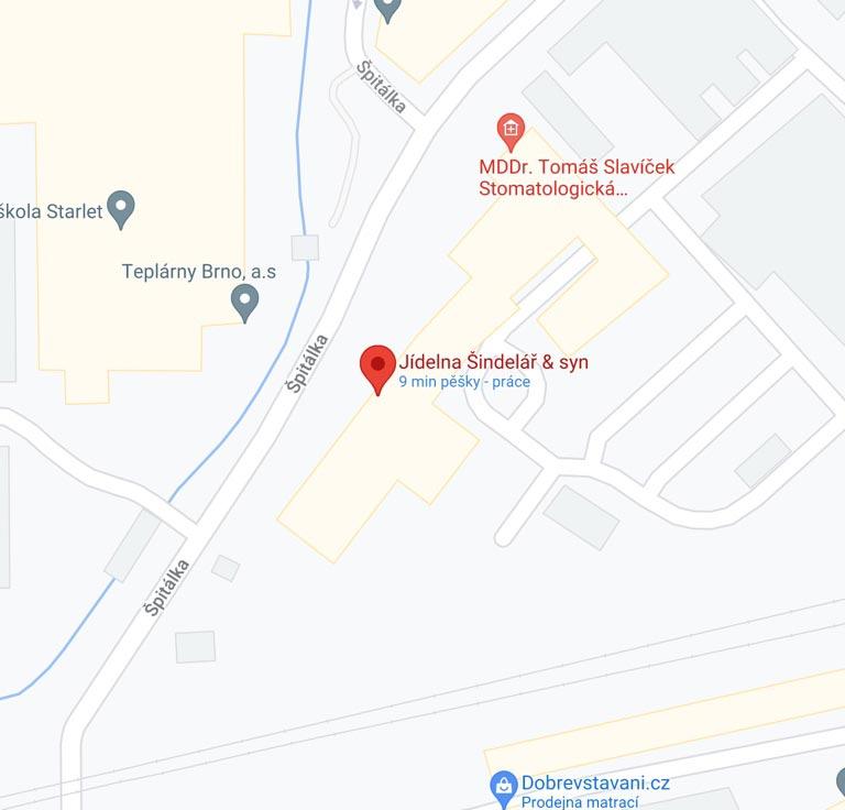 Jídelna Špitálka - mapa